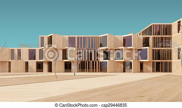 Modern house 3d wood model - csp29446835