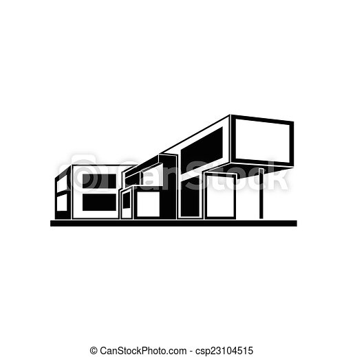 Vector Clip Art of modern house building real estate icon