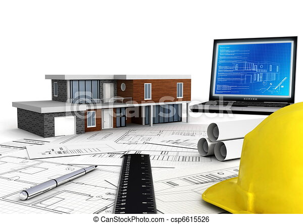 House Construction Clip Art : Modern house construction concept of designing and building a