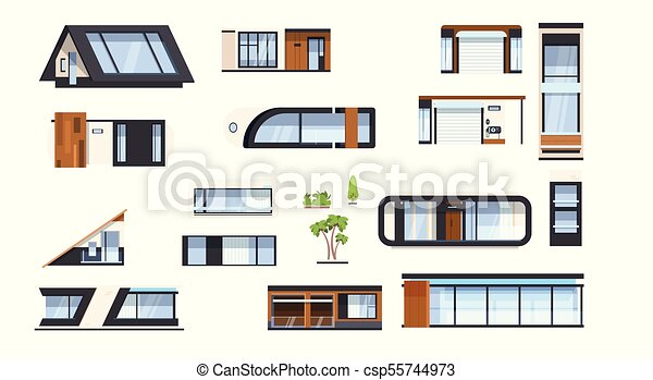 Modern House Elements Set Real Estate Building Sign Home Design Icons Collection Isolated