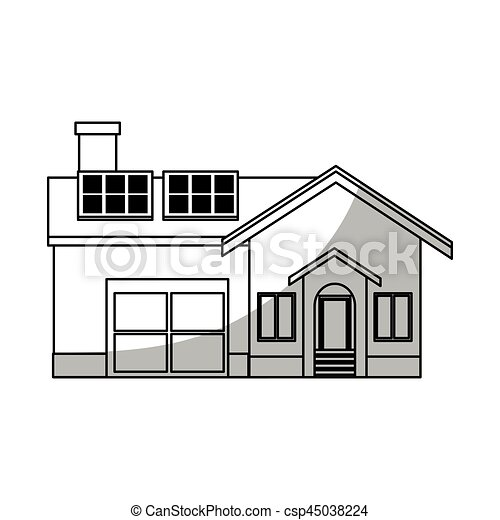 Modern house icon modern house with solar panels over for Modern house clipart