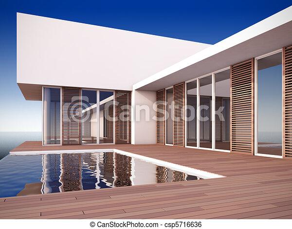 Modern House In Minimalist Style.   Csp5716636