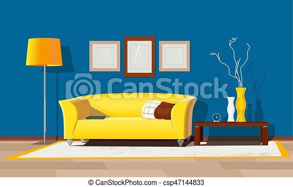 living room design modern house interior freehand drawn cartoon