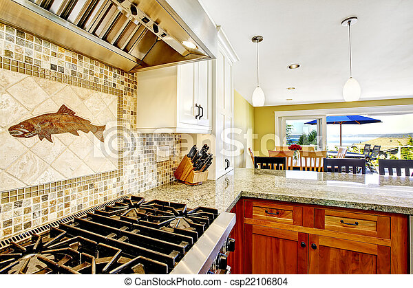 Modern House Interior Kitchen Room With Shiny Granite Tops And Modern House Interior White And Brown Kitchen Room With Canstock