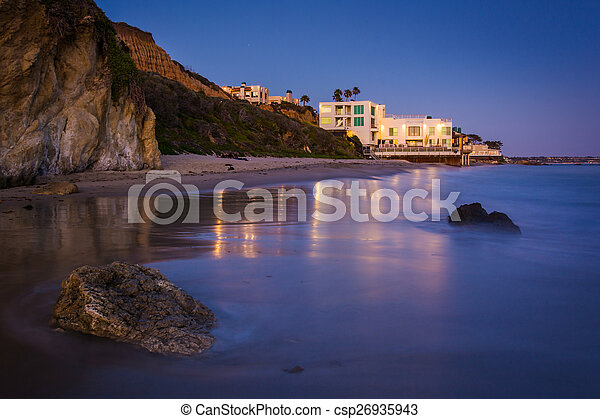 Modern house on the beach at night, seen from El Matador State B - csp26935943