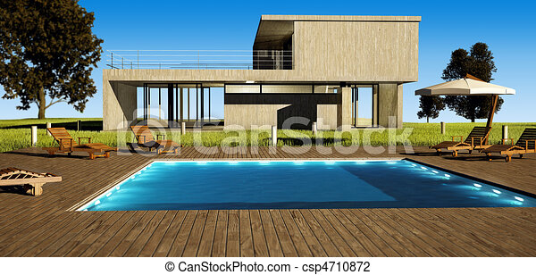 Modern House With Pool   Csp4710872