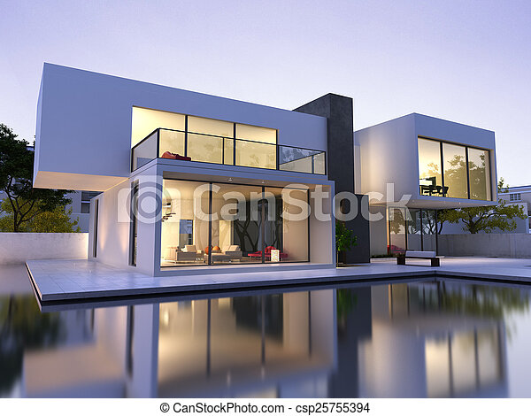 Modern house with pool - csp25755394