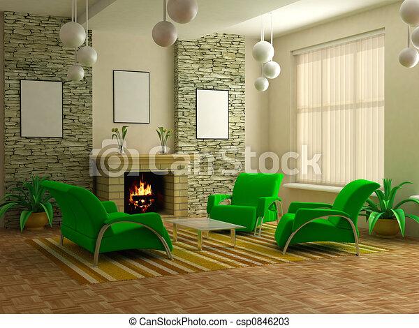 modern interior 3d - csp0846203