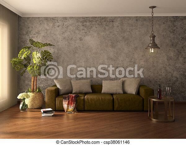 Modern interior. 3d illustration - csp38061146