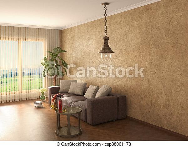 Modern interior. 3d illustration - csp38061173