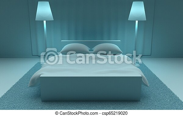 Modern Interior Bedroom. 3d rendering - csp65219020