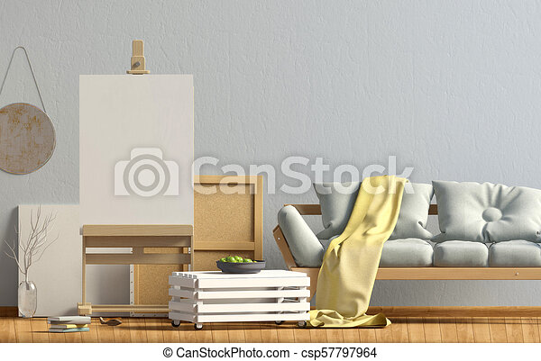 Modern interior design in Scandinavian style with sofa and easel. Mock up  poster. 3D illustration.