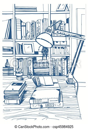 Modern interior home library, bookshelves, hand drawn sketch illustration. - csp45984925