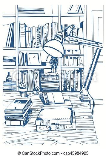 Modern interior home library, bookshelves, hand drawn sketch illustration. - csp45984925