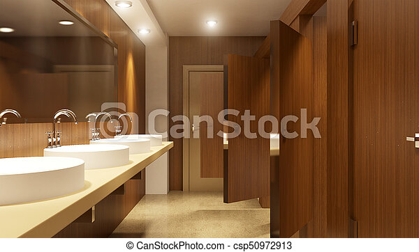 Modern interior of a Public restroom in a city apartment. 3D Render - csp50972913