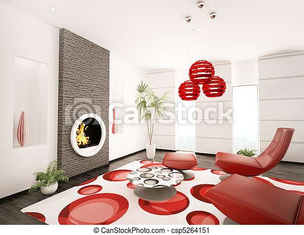 Modern interior of living room 3d render - csp5264151