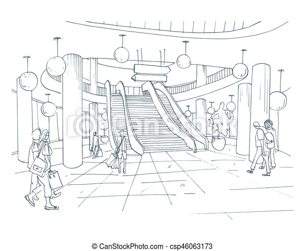 Modern interior shopping center, mall. contour sketch illustration ...