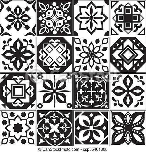 Modern Interior Spanish And Turkish Tiles Kitchen Floral Vector