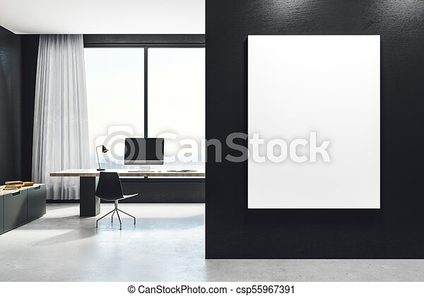 White and green modern office interior poster blur stock photo