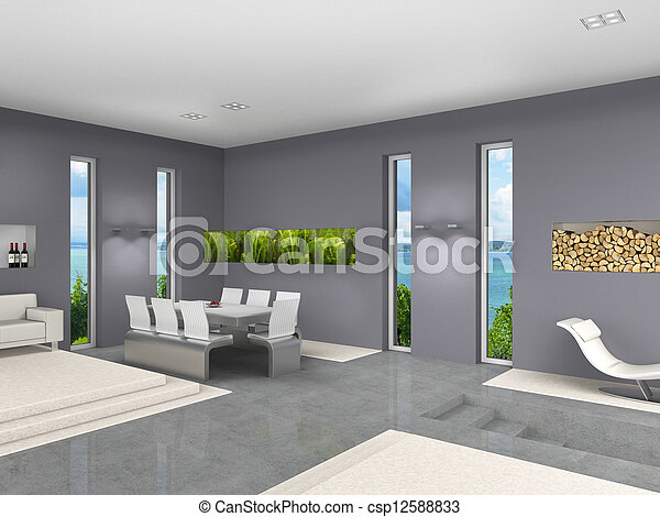 modern interior with open living and dining room  - csp12588833