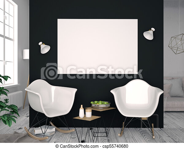 Modern interior with coffee table and pair of chairs poster