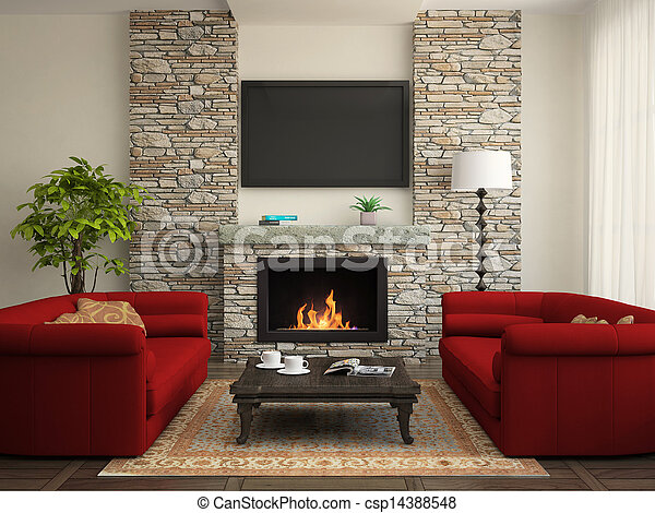 Modern interior with red sofas and fireplace - csp14388548