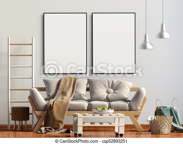D rendering modern interior interior room with mockup poster