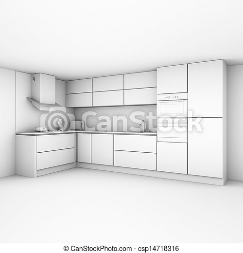 Modern Kitchen Cabinets In New White Interior Version Ao Clipart Search Illustration