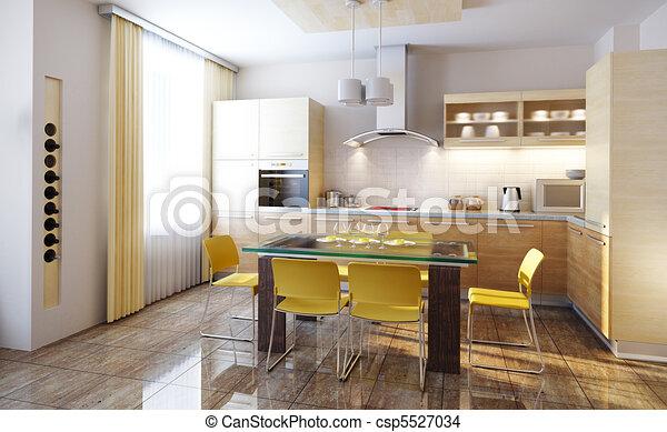 modern kitchen interior 3d render - csp5527034