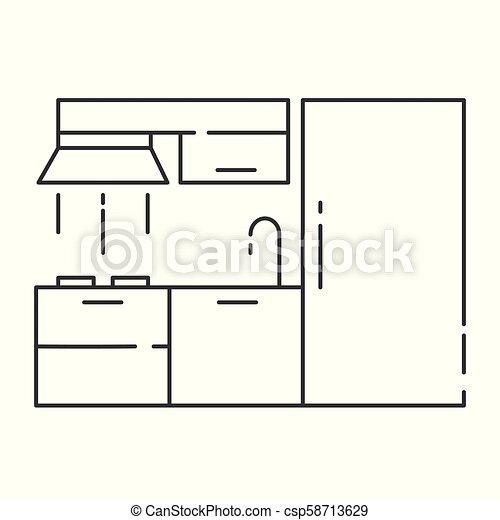Modern Kitchen Interior Design Outline Vector Illustration Modern