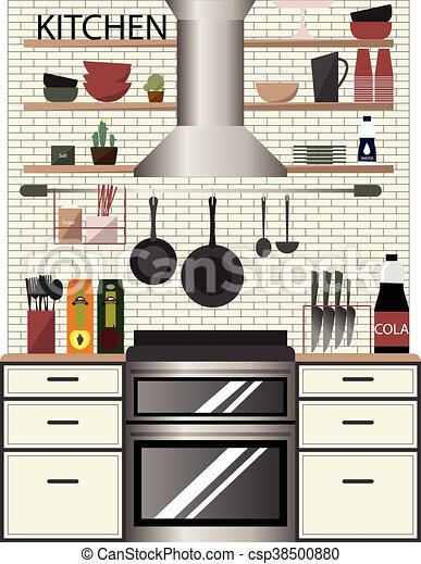 Modern Kitchen Interior In Flat Style With Cabinets Shelves Utensils