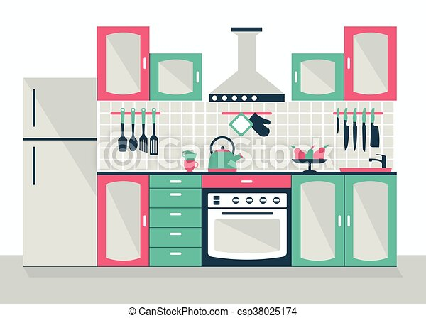 Modern Kitchen Interior Modern Kitchen Interior Cartoon Flat