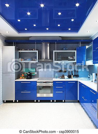 Modern kitchen interior in blue - csp3900015