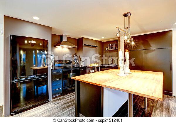 Modern Kitchen Interior In Dark Brown With Black Appliances Modern Adorable Modern Kitchen With Black Appliances