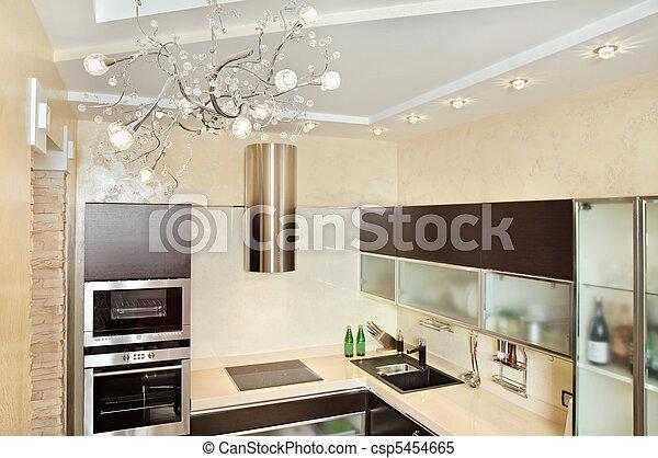 Modern Kitchen interior in warm tones - csp5454665
