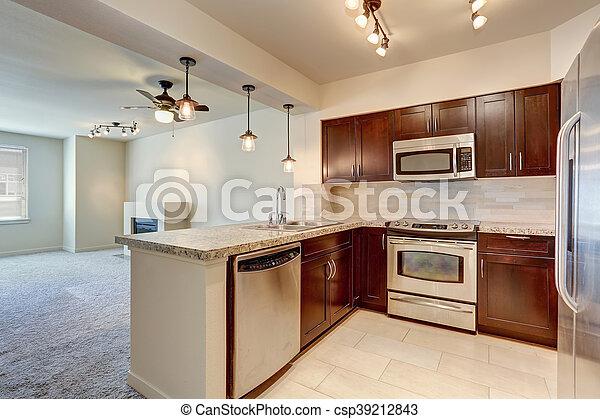 Modern kitchen interior with mahogany cabinets. - csp39212843