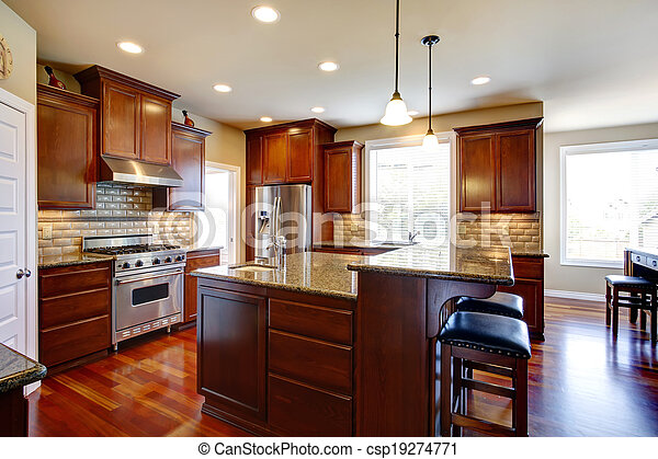 Modern Kitchen Room With Oak Cabinets Beautiful Kitchen Room With Oak Cabinets Steel Appliances View Bar Counter With Canstock