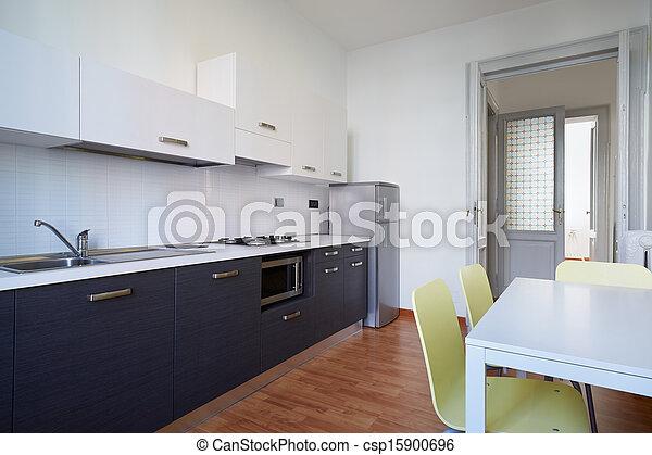 Modern kitchen, simple interior design - csp15900696