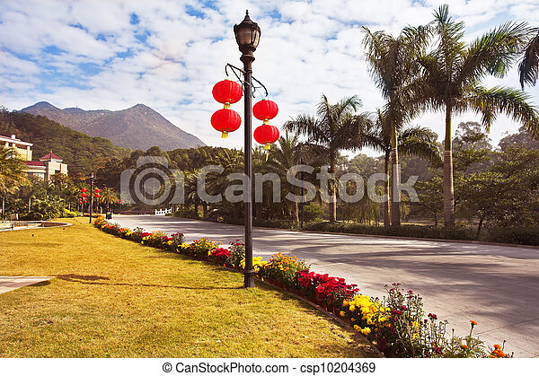 Modern lantern and traditional red lanterns in the Chinese park in New year - csp10204369