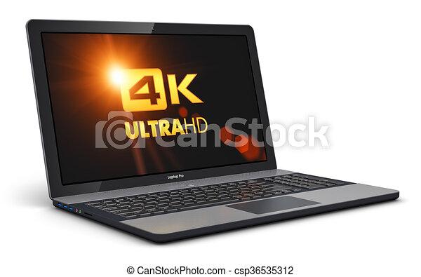 Modern laptop with 4K UltraHD screen resolution