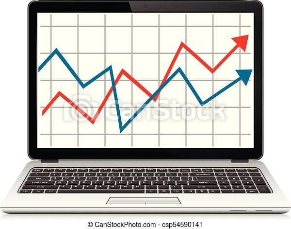 Modern laptop with graph on screen. Finance statistics report, statistic analysis. - csp54590141