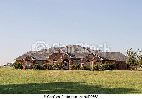 Modern Large Ranch Style Brick House - csp0429863
