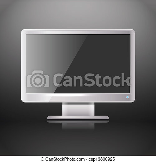 Modern lcd monitor with blank screen. template for a content.