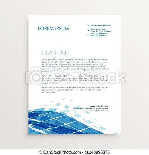 modern letterhead template design with blue abstract wavy shape csp48995378