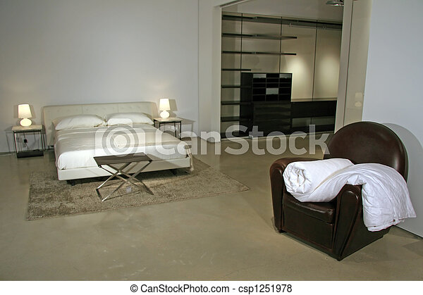 Modern Lifestyle - Interior of a Bedroom - csp1251978