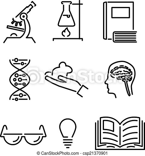 Modern Line Science Knowledge Study Icons And Symbols Set For Mobile