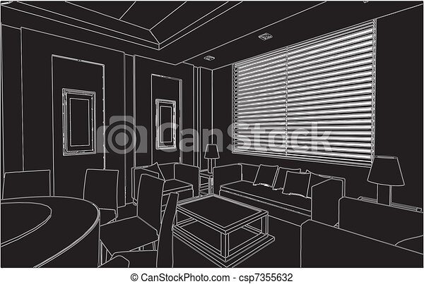 Modern Living And Dining Room  - csp7355632