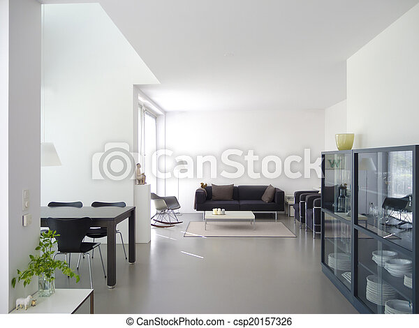 modern living and dining room interior - csp20157326