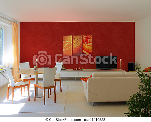 modern living and dining room - csp41410528