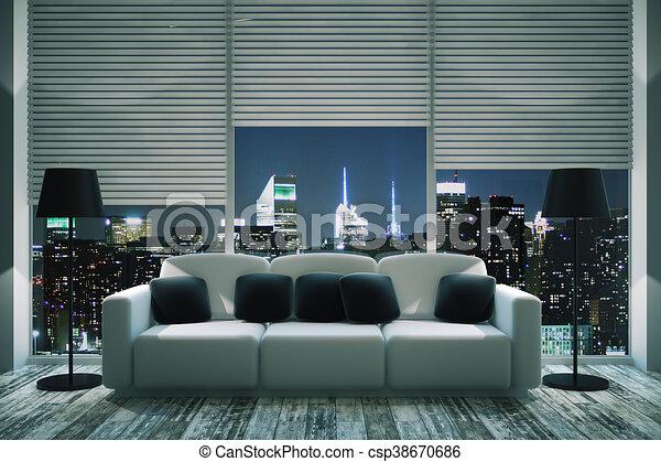 Modern Living Room At Night